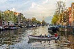 美好的阿姆斯特丹运河场面 免版税库存照片