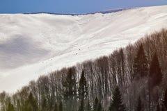 美好的阿尔卑斯冬天全景鸟瞰图 免版税库存图片
