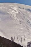 美好的阿尔卑斯冬天全景鸟瞰图 图库摄影