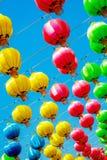 美好的颜色中国灯笼在愉快的中国年 图库摄影