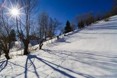美好的风景与太阳光亮的冬日 库存图片