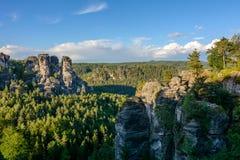 美好的风景在德国,撒克逊人的瑞士国家公园,萨克森 免版税库存照片
