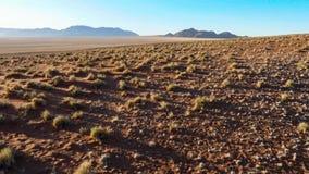 美好的风景在有大红色沙丘和明亮的颜色的卡拉哈里 图库摄影
