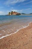 美好的风景在黑山 海岛stefan sveti 免版税库存图片