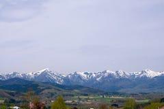 美好的风景山和雪全景 免版税图库摄影