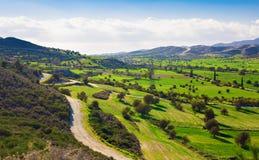 美好的风景看法与新鲜的绿色草甸和山的在背景中冠上在与蓝天的一个晴天 免版税库存图片