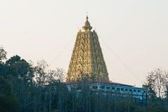 美好的风景金子Buddhagaya塔,佛教sanctuar 库存照片