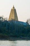 美好的风景金子Buddhagaya塔,佛教sanctuar 库存图片
