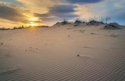 美好的风景,日落在沙漠 免版税库存图片