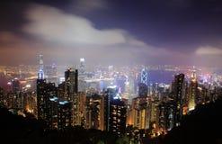 美好的香港晚上场面 图库摄影