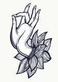 美好的高详细的菩萨` s手例证 被隔绝的被刻记的传染媒介艺术 纹身花刺, spiritualy,瑜伽,凝思,纺织品 免版税库存图片