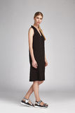 美好的魅力性感的妇女金发穿戴长的黑丝绸 库存照片