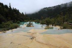 美好的黄龙自然保护在中国的四川 免版税库存照片