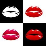 美好的嘴唇流行艺术样式 方形的片断的样式在分类的 免版税库存图片
