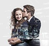 美好的年轻夫妇两次曝光  免版税库存图片