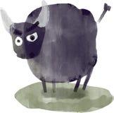 美好的水彩传染媒介公牛例证 库存图片