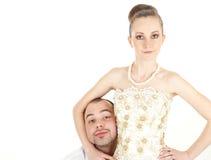 美好的滑稽的婚礼夫妇 免版税库存图片