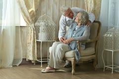 美好的年长夫妇在家 库存图片