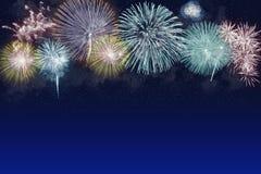 美好的firewroks的例证在蓝色背景的与星 免版税图库摄影