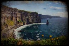 美好的grunge爱尔兰横向风景纹理 免版税库存照片