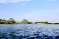 美好的lakeview在puzhehei县,云南,瓷 库存图片