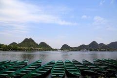 美好的lakeview在puzhehei县,云南,瓷 免版税库存图片