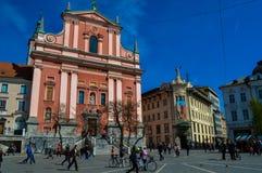 美好的Preseren广场,卢布尔雅那,斯洛文尼亚 库存照片