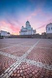 美好的vivd日落光的赫尔辛基大教堂 免版税库存照片