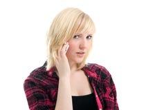 美好移动电话女孩联系少年 库存图片