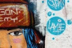 美好,五颜六色的街道画艺术,越南街道 免版税库存图片