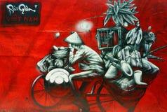 美好,五颜六色的街道画艺术,越南街道 库存照片