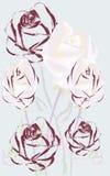 美妙不同的被绘的玫瑰的样式 库存图片
