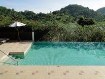 美妙地被找出的游泳池有河视图 免版税库存照片