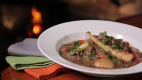 美妙地被镀的猪肉炖煮的食物 影视素材