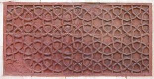 美妙地被雕刻的花卉样式在Jhangir宫殿 免版税图库摄影