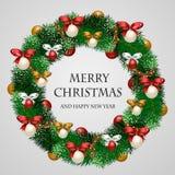 美妙地装饰的假日圣诞节花圈 向量例证