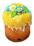 美妙地装饰的复活节蛋糕 免版税库存照片