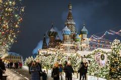 美妙地装饰的莫斯科新年和圣诞节 免版税库存图片