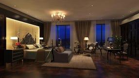 美妙地任命的卧具细致的旅馆内部空间 免版税库存图片