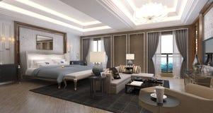 美妙地任命的卧具细致的旅馆内部空间 库存照片