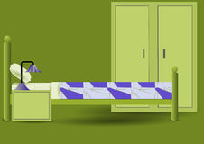 美妙地任命的卧具细致的旅馆内部空间 库存图片