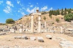 美妙的古老废墟在以弗所,土耳其 免版税库存图片