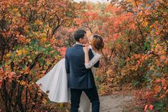美妙的夫妇在婚礼那天 在手中典雅的白色长的礼服和蓝色花束的新娘,一蓝色时兴的新郎 免版税库存照片