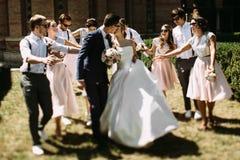 美妙的夫妇的亲吻在婚礼之日 库存图片