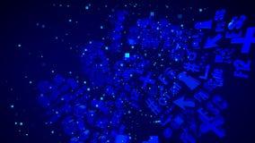 美妙的抽象蓝色3D个人计算机标志 向量例证
