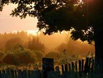 美妙的日落在一个美妙的镇 库存照片