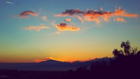 美妙的日落意大利etna 库存图片
