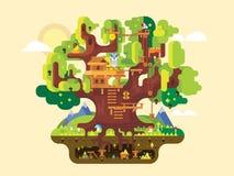 美妙的树上小屋 向量例证