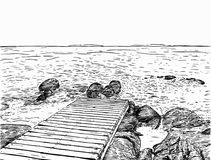 美妙的海运视图 码头剪影 木口岸,海,海岛, scen 库存照片