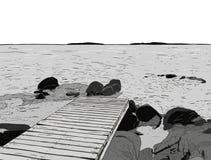 美妙的海运视图 码头剪影 木口岸,海,海岛, scen 免版税库存照片